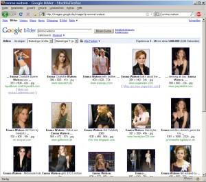 Google Bildersuche nach Emma Watson am 9.7.2009