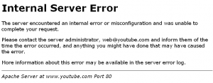 Server-Error bei Youtube am 1.11.2009 um 19:08 Uhr