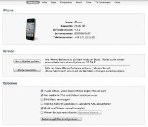 iTunes mit unverschlüsseltem Backup